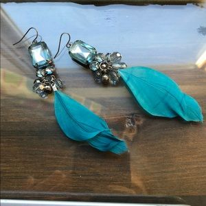 Jewelry - Turquoise Feather Dangly Earrings